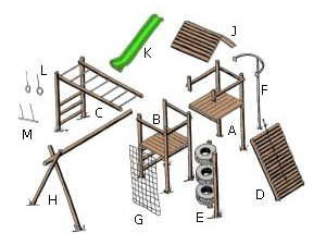 Tuff Playstructures Wooden Jungle Gym Playground